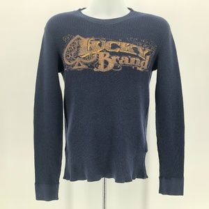 Lucky Brand Navy Blue Thermal Logo Shirt